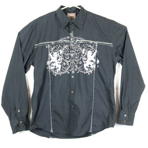 Roar Mens XL Western Shirt Black Graphical Button